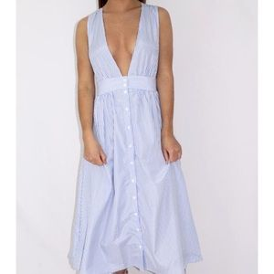 Summery blue and white striped dress